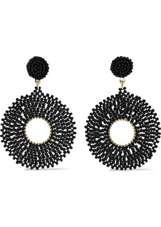 Kenneth Jay Lane Woman Gold-tone Beaded Earrings Black