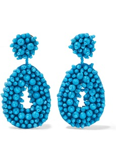 Kenneth Jay Lane Woman Gold-tone Beaded Felt Earrings Azure
