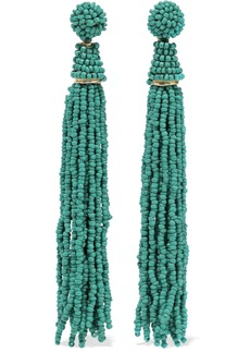 Kenneth Jay Lane Woman Gold-tone Beaded Tassel Earrings Jade