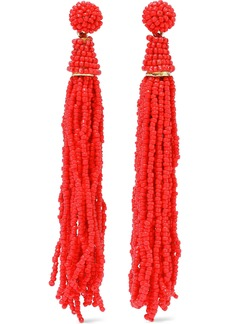 Kenneth Jay Lane Woman Gold-tone Beaded Tassel Earrings Tomato Red
