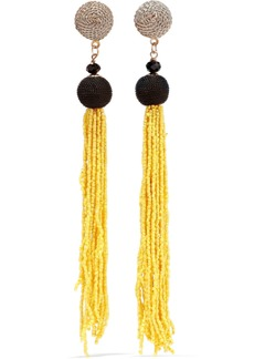 Kenneth Jay Lane Woman Gold-tone Cord And Beaded Tassel Earrings Yellow