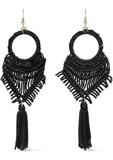 Kenneth Jay Lane Woman Gold-tone Cord And Tassel Earrings Black