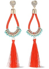 Kenneth Jay Lane Woman Gold-tone Cord Bead And Tassel Earrings Tomato Red