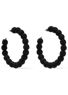 Kenneth Jay Lane Woman Gold-tone Cord Hoop Earrings Black
