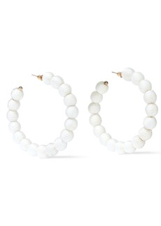 Kenneth Jay Lane Woman Gold-tone Cord Hoop Earrings White