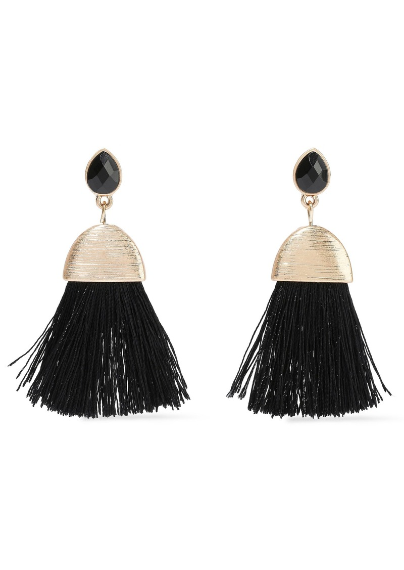 Kenneth Jay Lane Woman Gold-tone Crystal And Cord Tassel Earrings Black