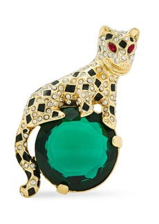 Kenneth Jay Lane Woman Gold-tone Crystal And Enamel Brooch Gold