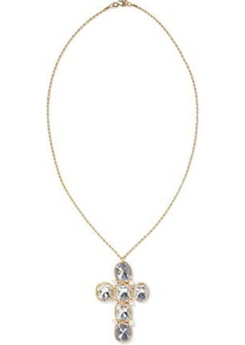 Kenneth Jay Lane Woman Gold-tone Crystal And Faux Pearl Necklace Gold
