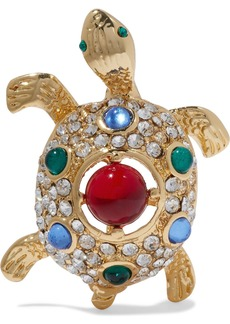 Kenneth Jay Lane Woman Gold-tone Crystal And Resin Brooch Multicolor