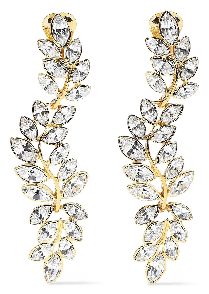Kenneth Jay Lane Woman Gold-tone Crystal Clip Earrings Gold
