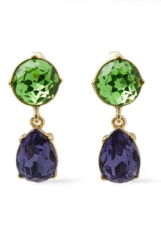 Kenneth Jay Lane Woman Gold-tone Crystal Clip Earrings Green