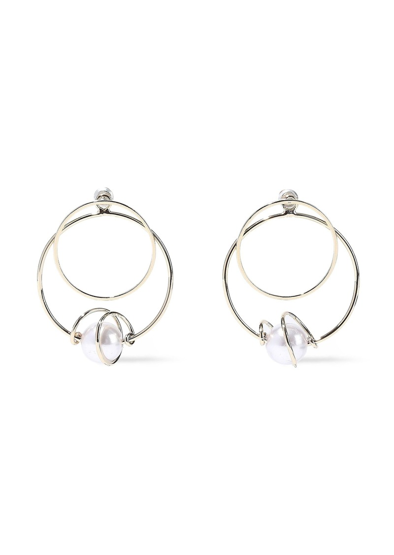 Kenneth Jay Lane Woman Gold-plated Faux Pearl Hoop Earrings Gold