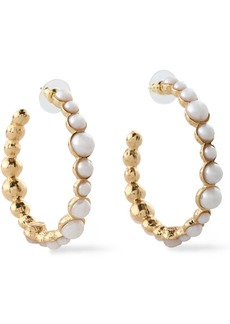 Kenneth Jay Lane Woman Gold-tone Faux Pearl Hoop Earrings White