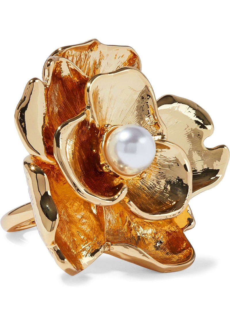 Kenneth Jay Lane Woman Gold-tone Faux Pearl Ring Gold