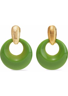 Kenneth Jay Lane Woman Gold-tone Resin Earrings Lime Green