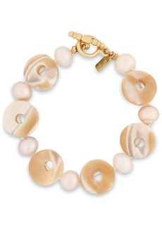 Kenneth Jay Lane Woman Gold-tone Shell And Faux Pearl Bracelet White