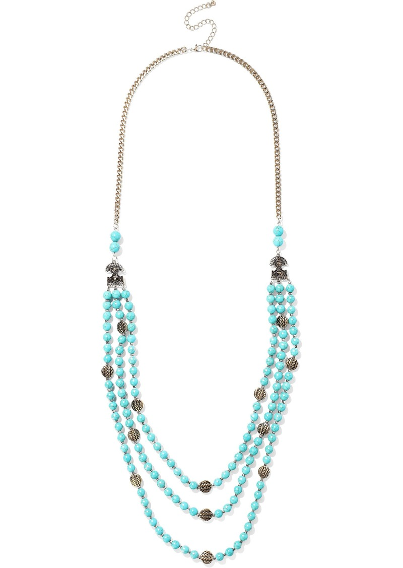 Kenneth Jay Lane Woman Gold-tone Stone And Bead Necklace Turquoise