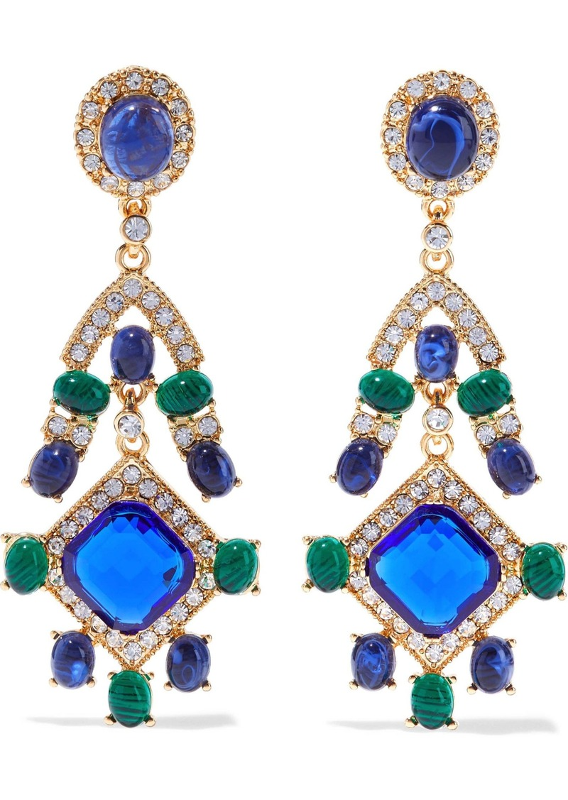 Kenneth Jay Lane Woman Gold-tone Stone And Crystal Clip Earrings Multicolor