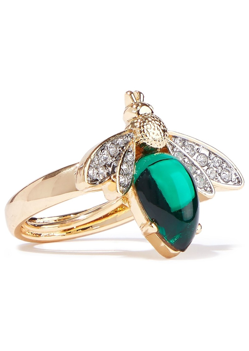 Kenneth Jay Lane Woman Gold-tone Stone And Crystal Ring Gold