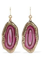 Kenneth Jay Lane Woman Gold-tone Stone Earrings Purple