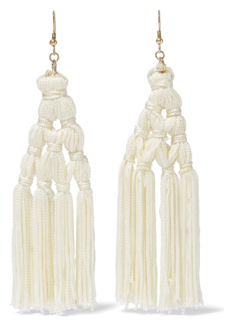 Kenneth Jay Lane Woman Gold-tone Tasseled Cord Earrings White