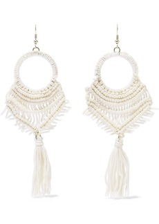 Kenneth Jay Lane Woman Gold-tone Tasseled Macramé Cord Earrings Ivory