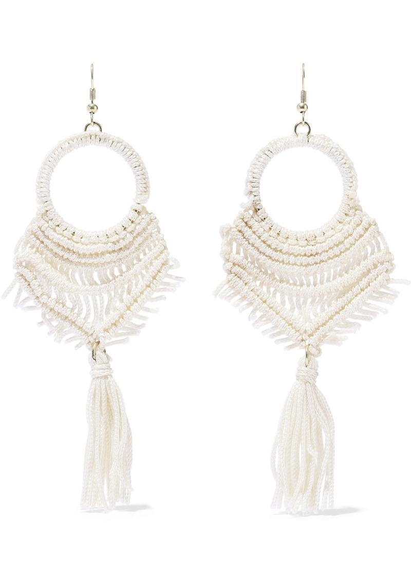 Kenneth Jay Lane Woman Gold-tone Tasseled Macramé Cord Earrings Ivory