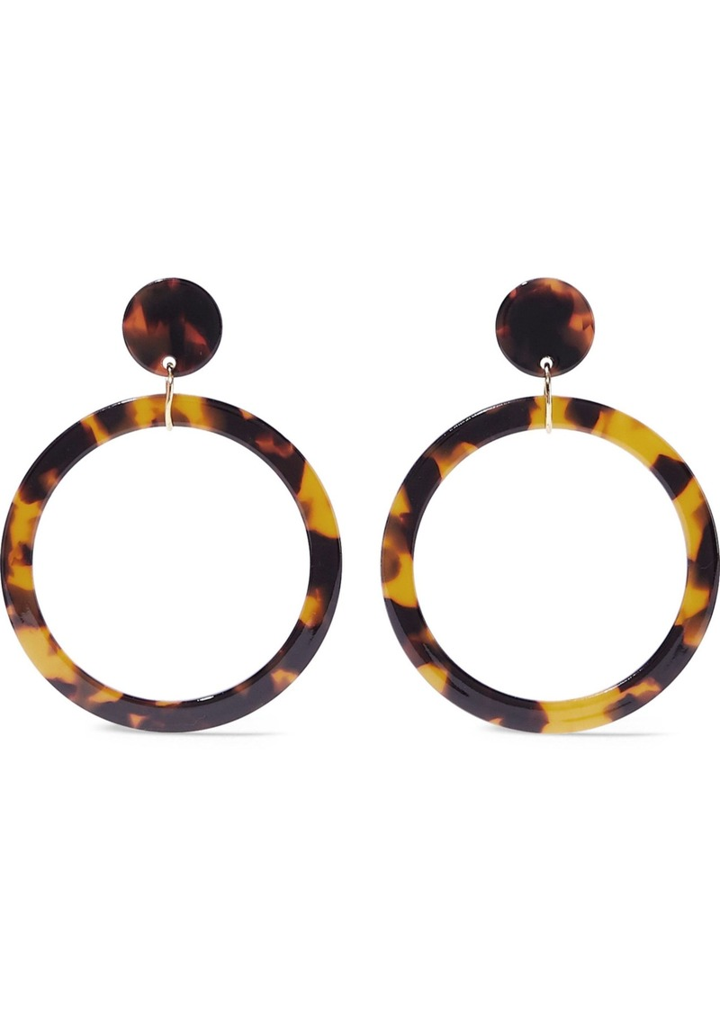 Kenneth Jay Lane Woman Gold-tone Tortoiseshell Resin Hoop Earrings Animal Print