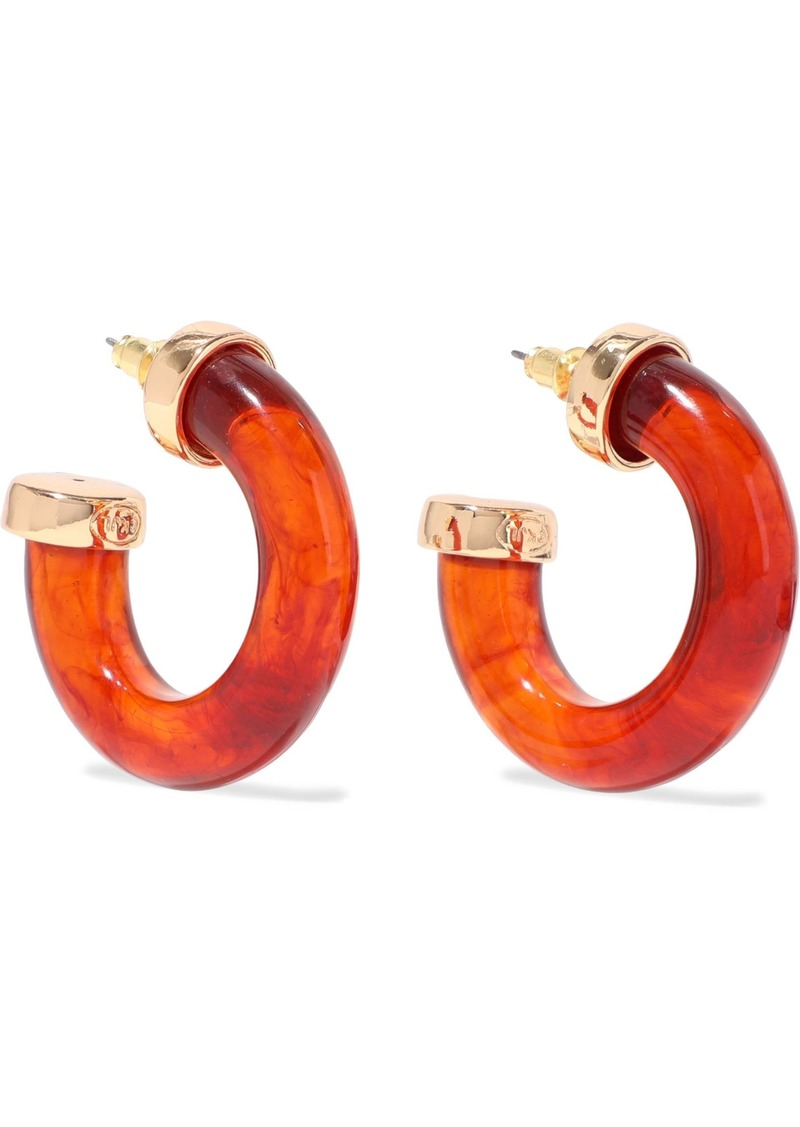 Kenneth Jay Lane Woman Gold-tone Tortoiseshell Resin Hoop Earrings Brown
