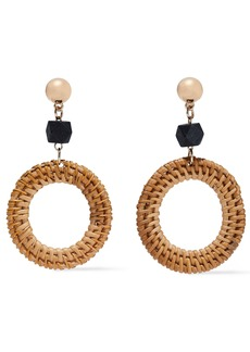 Kenneth Jay Lane Woman Gold-tone Wood And Rattan Earrings Tan