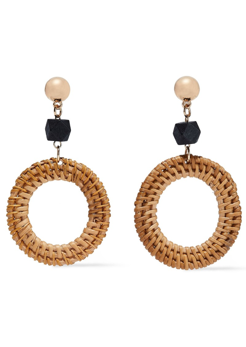 Kenneth Jay Lane Woman Gold-tone Wood And Rattan Earrings Tan