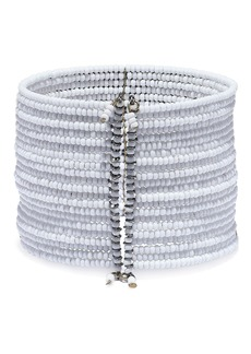 Kenneth Jay Lane Woman Gunmetal-tone Beaded Cuff Light Gray