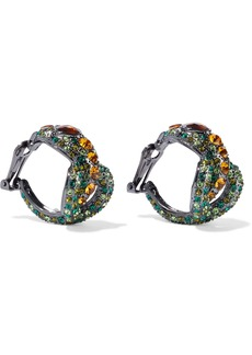 Kenneth Jay Lane Woman Gunmetal-tone Crystal Clip Earrings Green