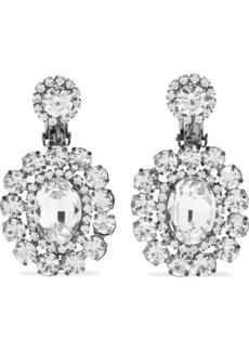 Kenneth Jay Lane Woman Gunmetal-tone Crystal Clip Earrings Gunmetal