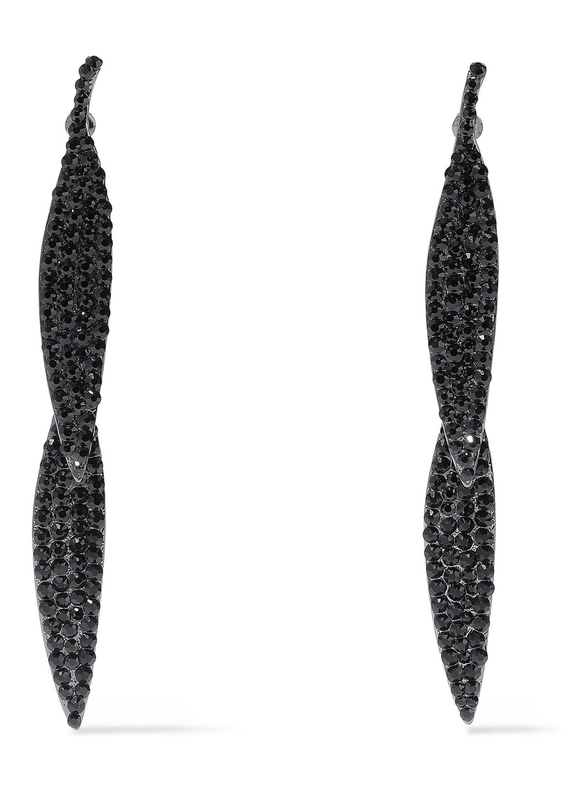 Kenneth Jay Lane Woman Gunmetal-tone Crystal Earrings Black