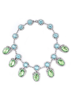 Kenneth Jay Lane Woman Gunmetal-tone Crystal Necklace Turquoise