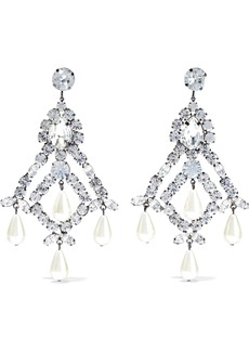 Kenneth Jay Lane Woman Gunmetal-tone Faux Pearl And Crystal Earrings Silver