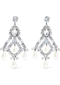 Kenneth Jay Lane Woman Gunmetal-tone Faux Pearl And Crystal Earrings Silver