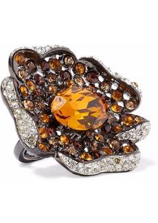 Kenneth Jay Lane Woman Gunmetal-tone Topaz And Crystal Ring Orange