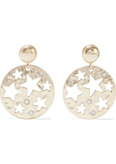 Kenneth Jay Lane Woman Hammered 18-karat Gold-plated Crystal Earrings Gold