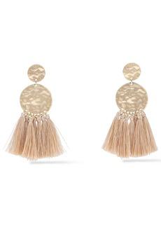 Kenneth Jay Lane Woman Hammered 22-karat Gold-plated Tassel Earrings Gold