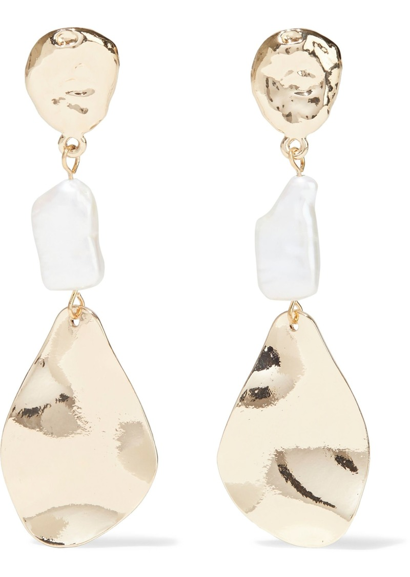 Kenneth Jay Lane Woman Hammered Gold-plated Faux Pearl Earrings Gold