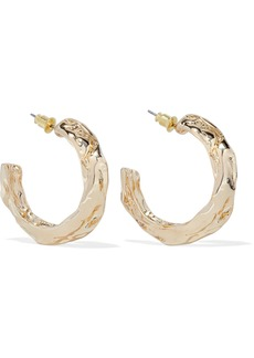 Kenneth Jay Lane Woman Hammered Gold-tone Hoop Earrings Gold