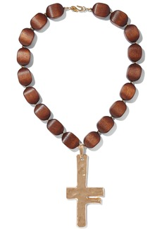 Kenneth Jay Lane Woman Hammered Gold-tone Wood Necklace Gold