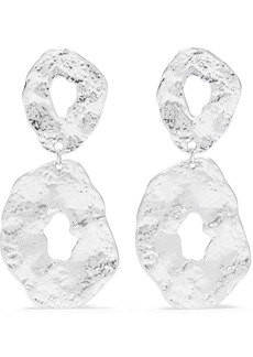 Kenneth Jay Lane Woman Hammered Rhodium-plated Earrings Silver