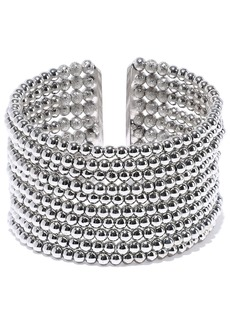 Kenneth Jay Lane Woman Rhodium-plated Beaded Cuff Silver