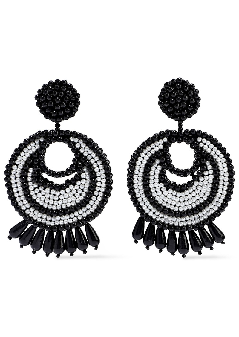 Kenneth Jay Lane Woman Rhodium-plated Beaded Earrings Black