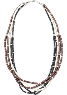 Kenneth Jay Lane Woman Rhodium-plated Beaded Necklace Brown