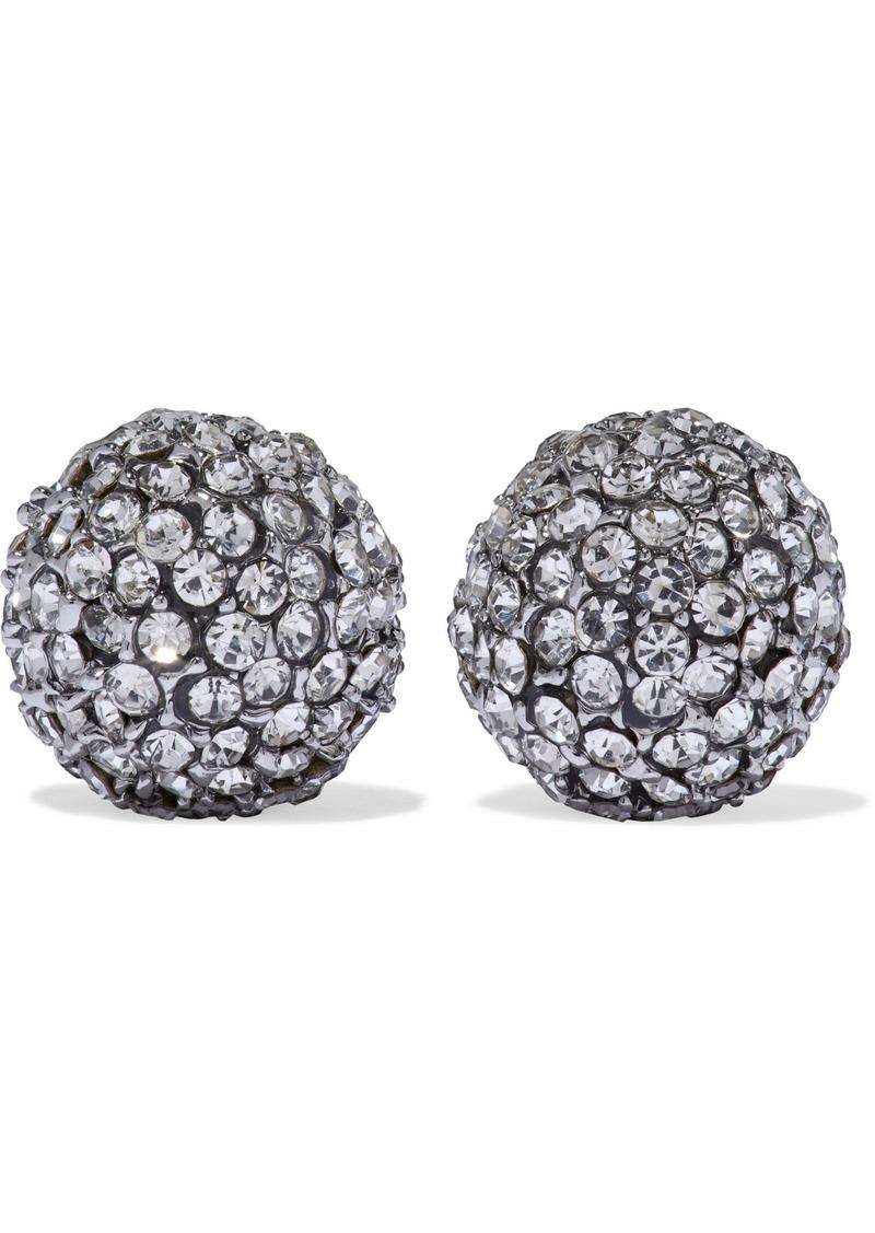 Kenneth Jay Lane Woman Rhodium-plated Crystal Earrings Gunmetal