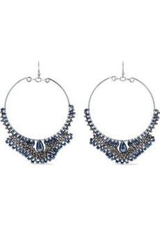 Kenneth Jay Lane Woman Silver-tone Beaded Hoop Earrings Silver